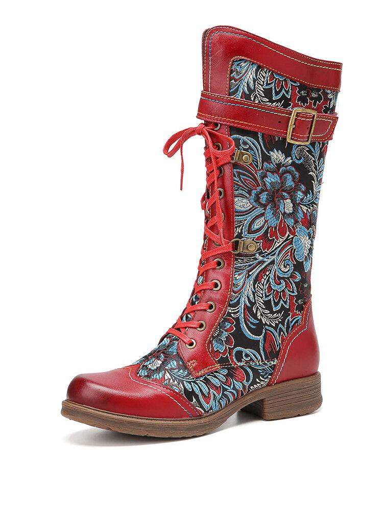 SOCOFY Retro Floral Comfy Echtes Leder Rutschfester Seitenreißverschluss Mittelkalb Stiefel