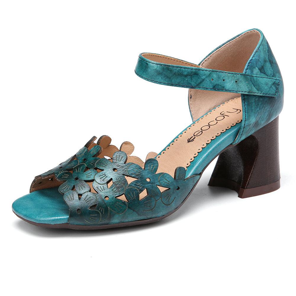 SOCOFY Hand Tie-dyed Flowers Splicing Genuine Leather  Adjustable Hook Loop Sandals