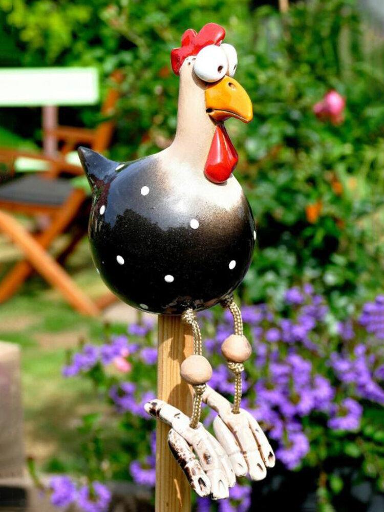 庭の芸術の装飾チキンガーデン芝生プラグ編鶏の装飾品彫像エッジシーター屋内屋外裏庭の装飾