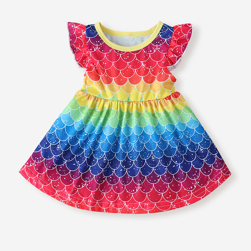 Girl's Colorful Rainbow Print Flying Sleeves Casual Dress For 1-7Y
