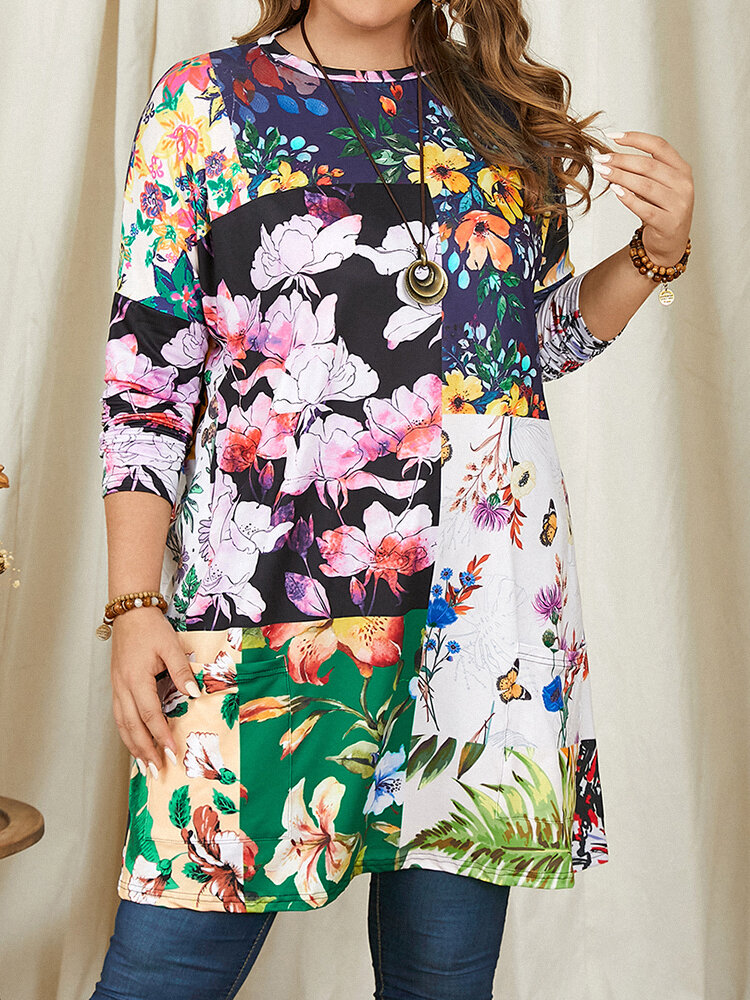 Flower Patched Print Long Sleeve Plus Size Blouse with Pocket