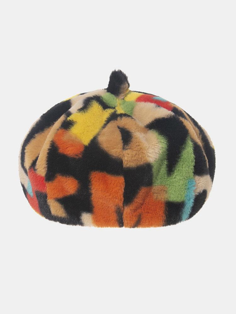 Women Tie-dye Plush British Style Warm Soft Causal All-match Painter Hat Beret Hat Octagonal Hat