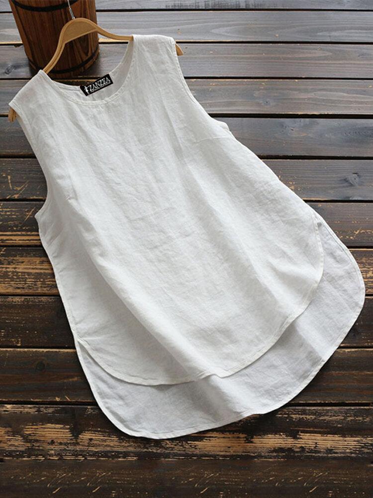 Cotton Solid Color Crew Neck Plus Size Tank Top