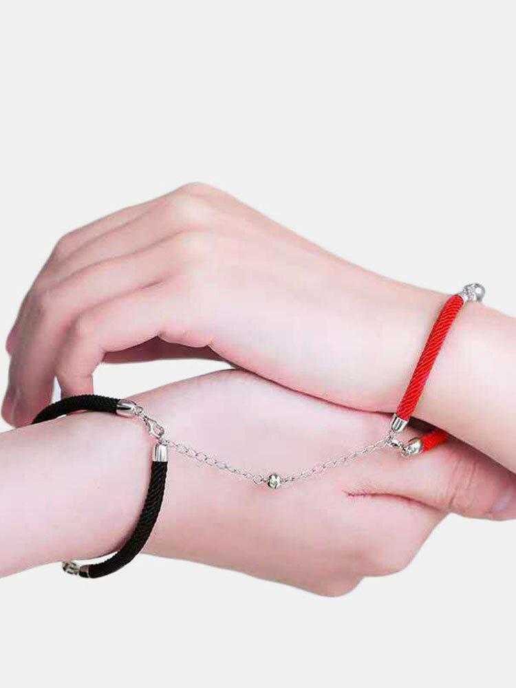 2 Pcs HD Bracelets Couple Nano-Sculpture Set Bracelets à Boucle Aimant Réglable à Projection Claire