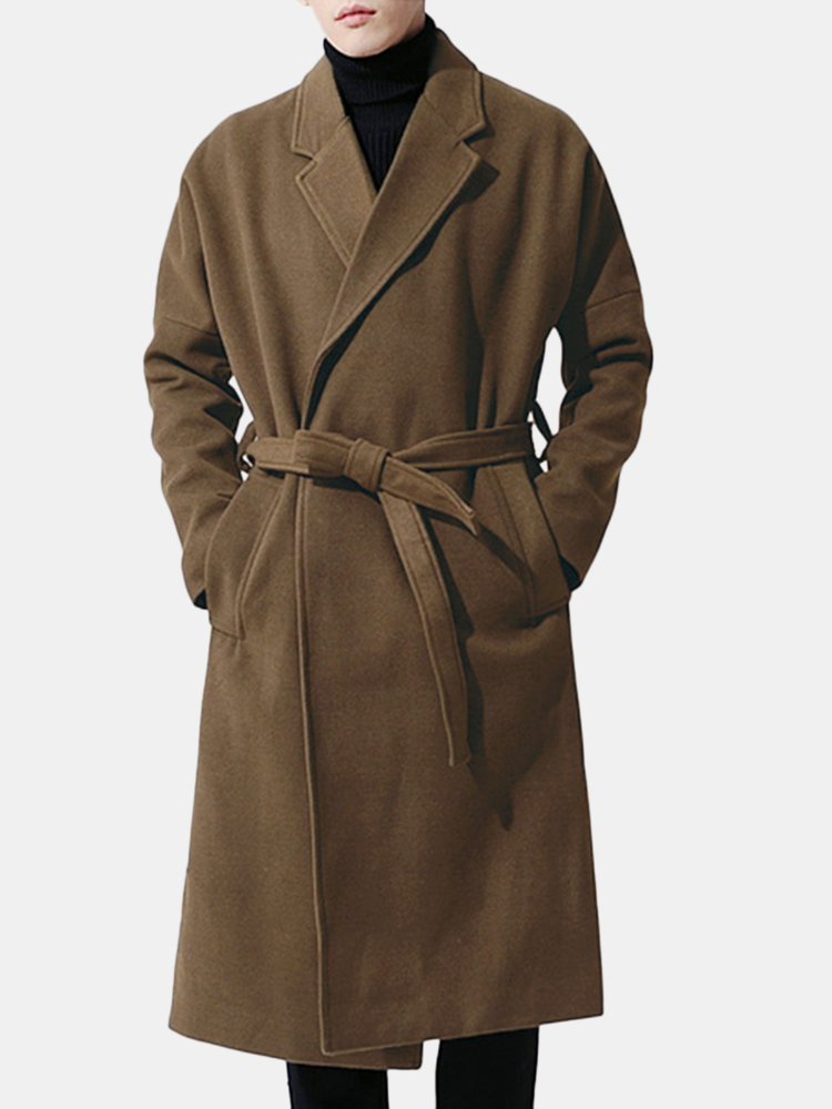 a465aa1fc Men Casual Mid Long Woolen Coat Winter Loose Belt Thicken Warm Overcoat  Suit Collar Trench Coat