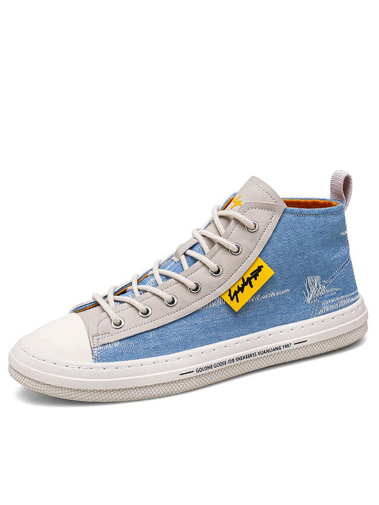 Men Washed Canvas High Top Lace Up Breathable Sneakers