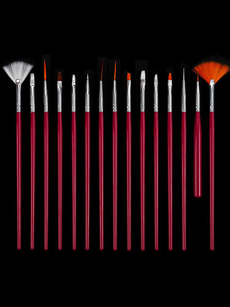 15Pcs Nail Art Brushes Set DIY Painting Pen False Nails Tips UV Gel Polish Tools