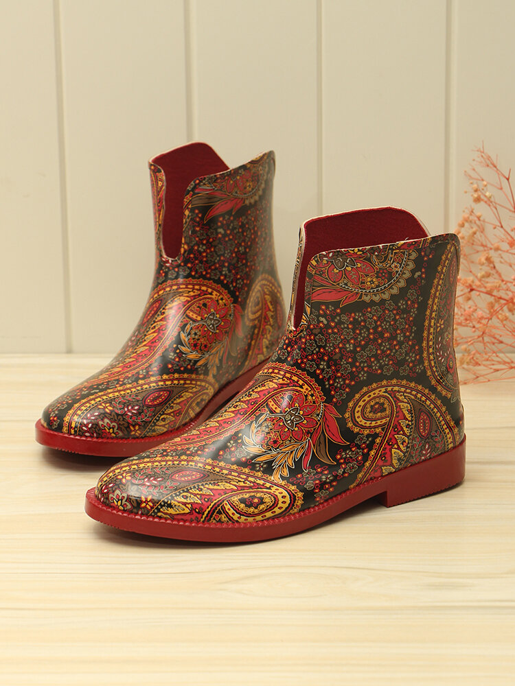 Ethnic Pattern Exotic Style Soft Non-slip Short-calf Rain Boots For Women