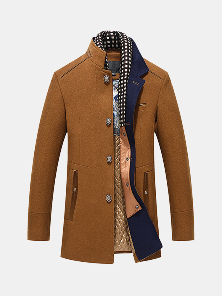 Mens Wool Detachable Scarf Mid Long Trench Coats Business Casual Stylish Coat Slim Fit Jackets
