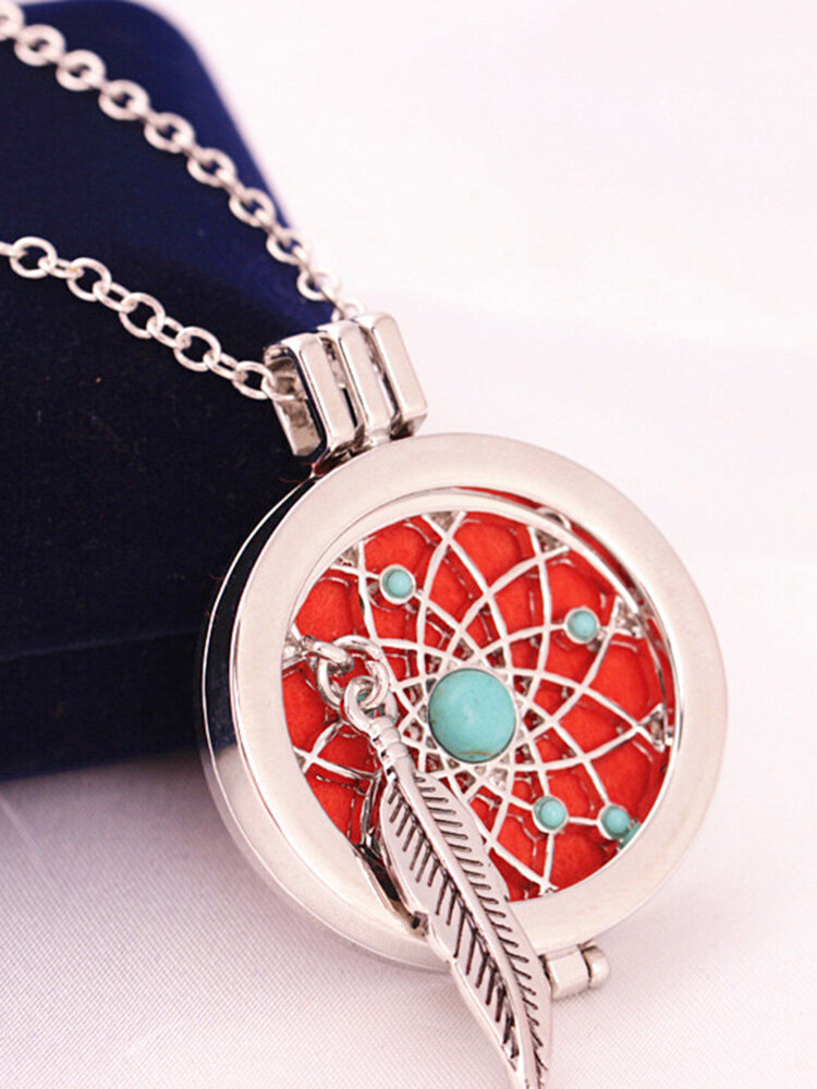 Vintage Feather Turquoise Women Necklace Openable Aromatherapy Essential Oil Photo Box Necklace