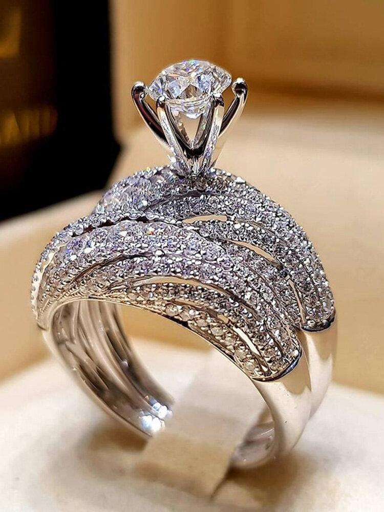 Trendy Geometric Metal Diamond Rings Temperament Rhinestone Rings