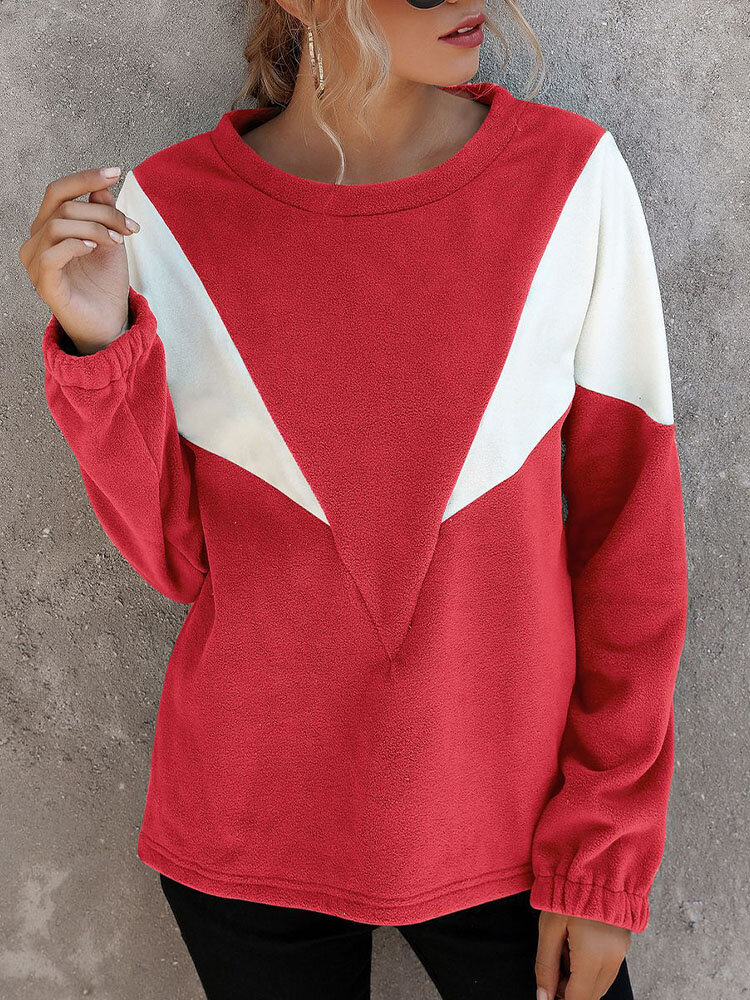 Women Long Sleeve O-neck Contrast Color Casual T-shirt