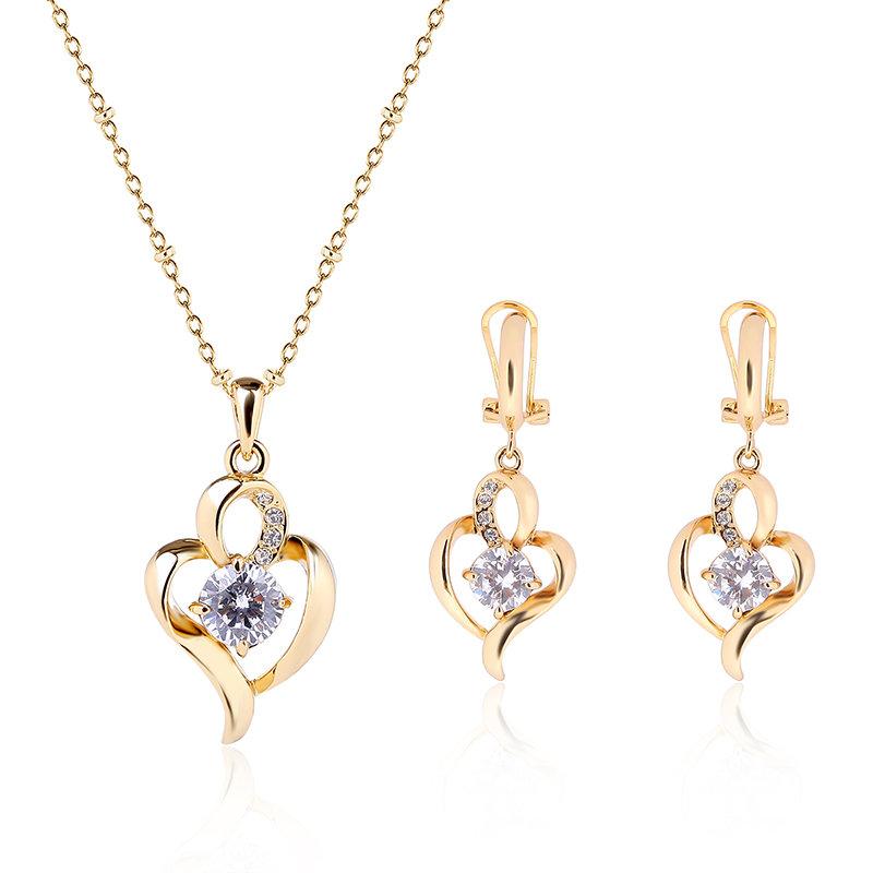 Elegant Jewelry Set Heart Rhinestone Earrings Necklace Set