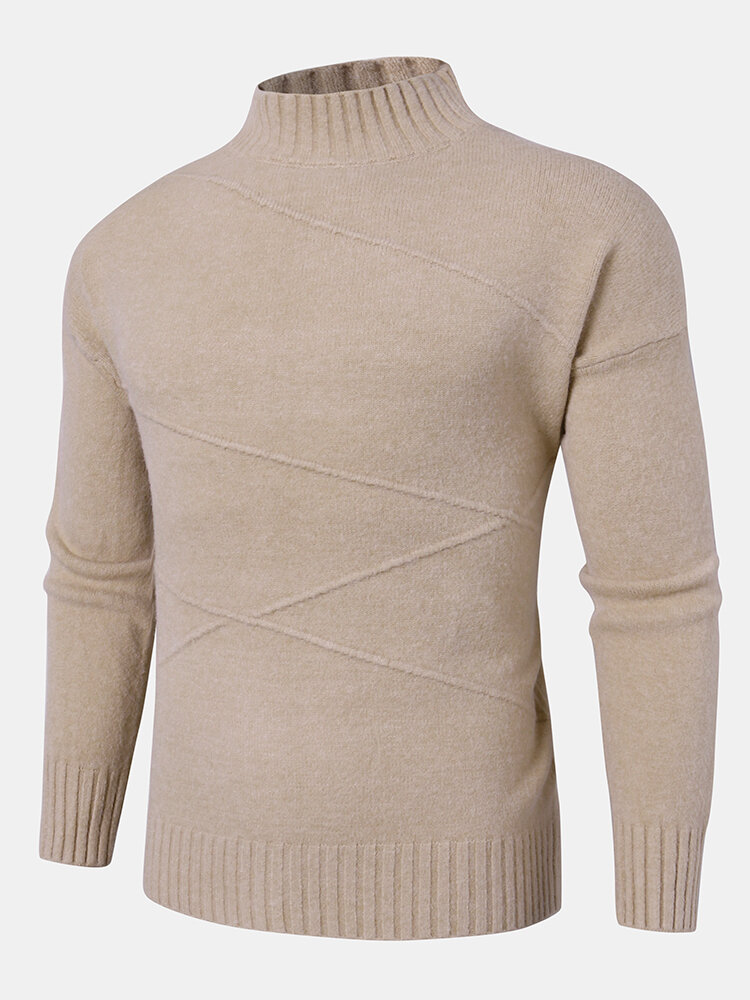 Mens Solid Color Knit Rib Plain Casual Pullover Sweaters