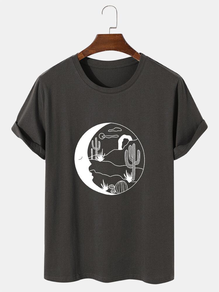 Mens Celestial Cactus Graphic 100% Cotton Short Sleeve T-Shirts