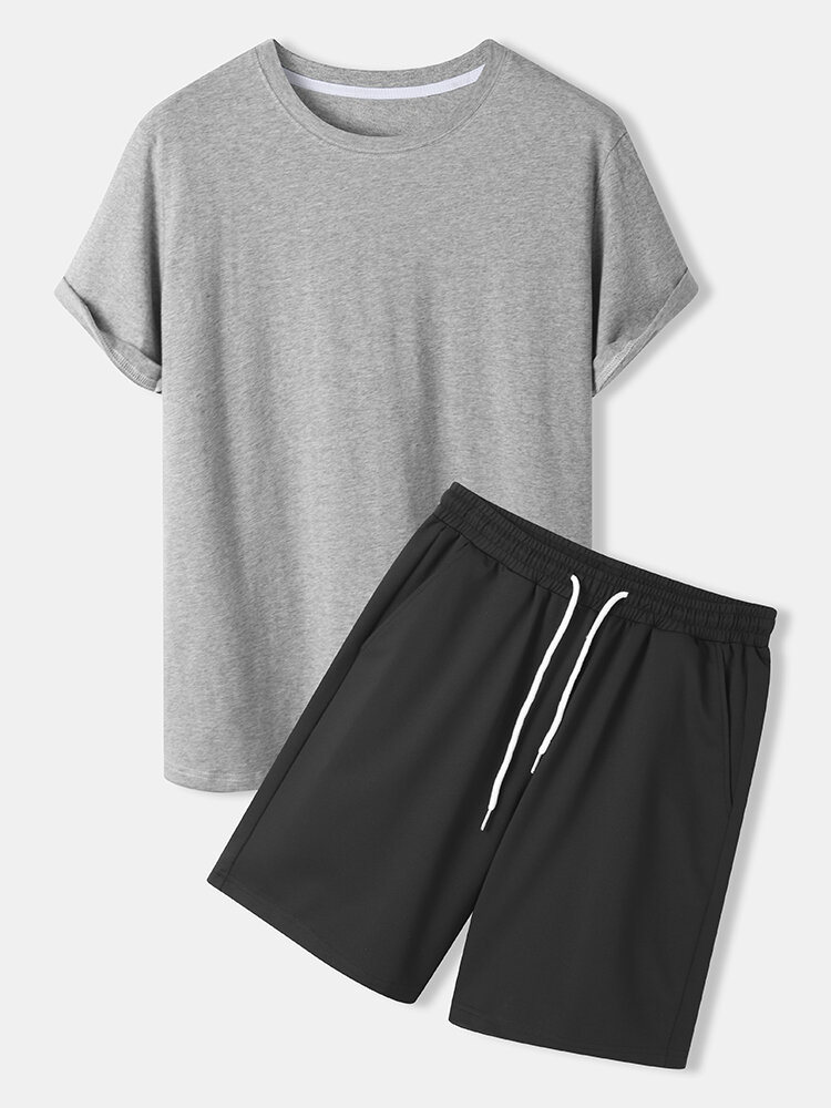 Mens Solid Color Round Neck Drawstring Shorts Plain Two Pieces Outfits