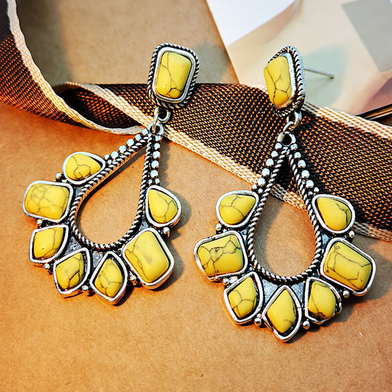 Vintage Metal Geometric Hollow Water Drop Earrings Irregular Yellow Turquoise Earrings