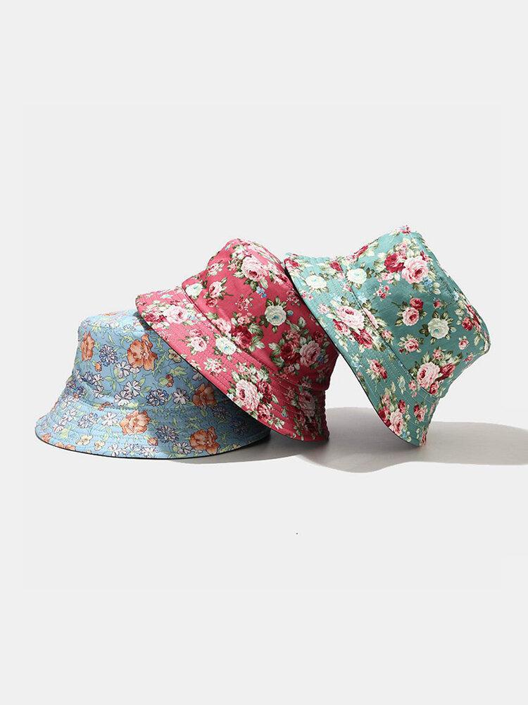Women & Men Flower Pattern Bucket Hat Fisherman Hat