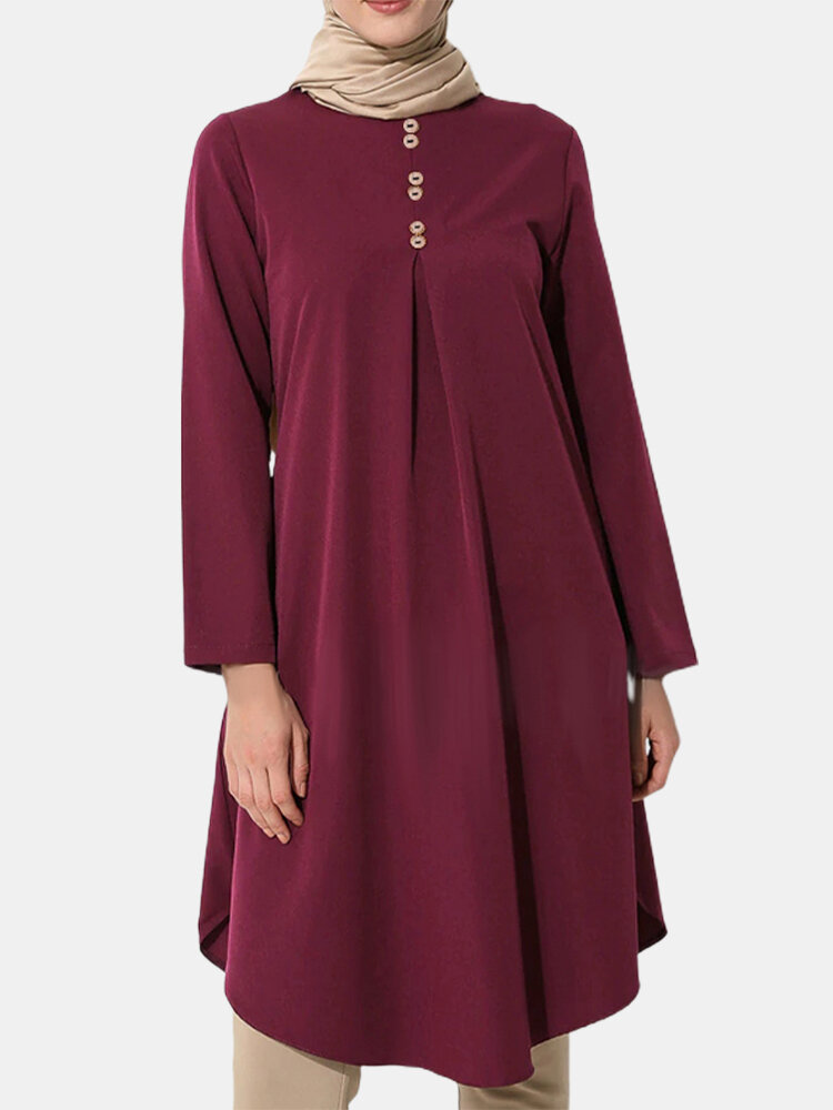 Solid Color Button Front Long Sleeve Maxi Blouse For Women