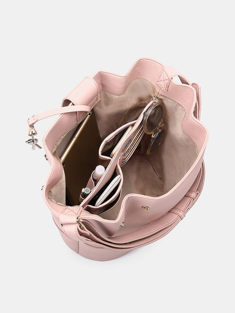 Women Patchwork Bucket Bag Large Capcity Multifunctional Crossbody Bag
