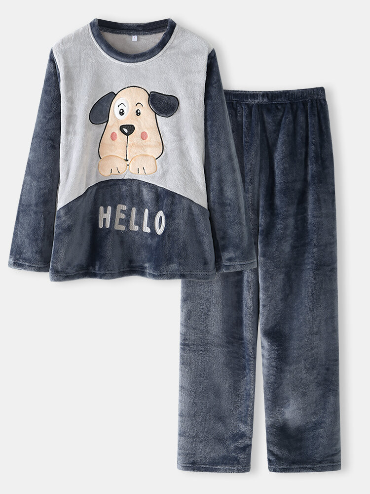 Women Cute Dog Letter Embroidery Round Neck Double Flannel Thick Pajamas Set With Pocket