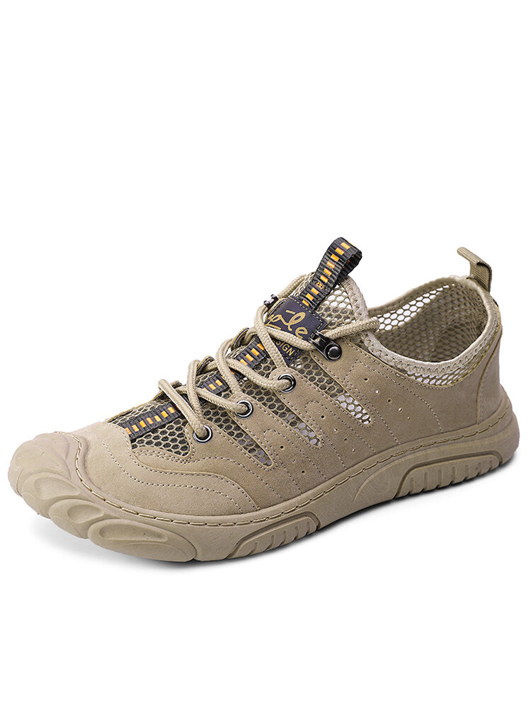Men Breathable Mesh Fabric Lace-up Ribbon Hard Wearing Casual Outdoor Shoes