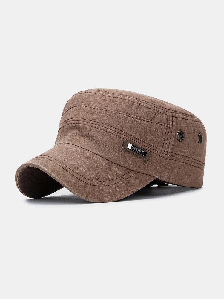 पुरुषों के कपास से बने पुराने धातु बिल्ला आउटडोर आरामदायक सांस सैन्य टोपी पीक टोपी फ्लैट टोपी