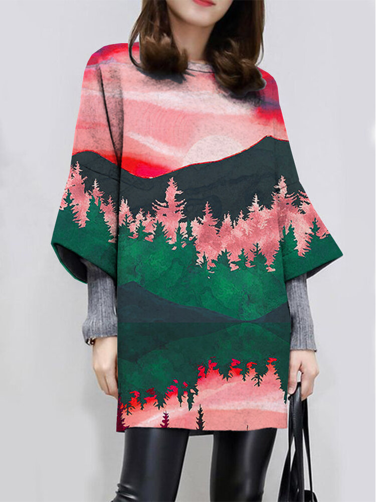 Landscape Print Loose Long Sleeve O-neck Casual Dress For Women