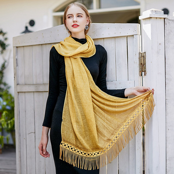 UACY_185cm*90cm_Summer_Thin_Fringed_Scarf_Skinny_Scarf_Breathable_Cotton_Scarf_With_Tassel