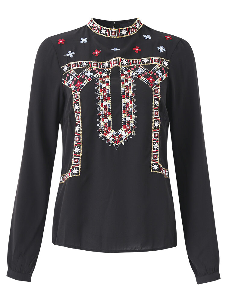 Women Casual Floral Embroidery Hollow O-neck Long Sleeve Blouse
