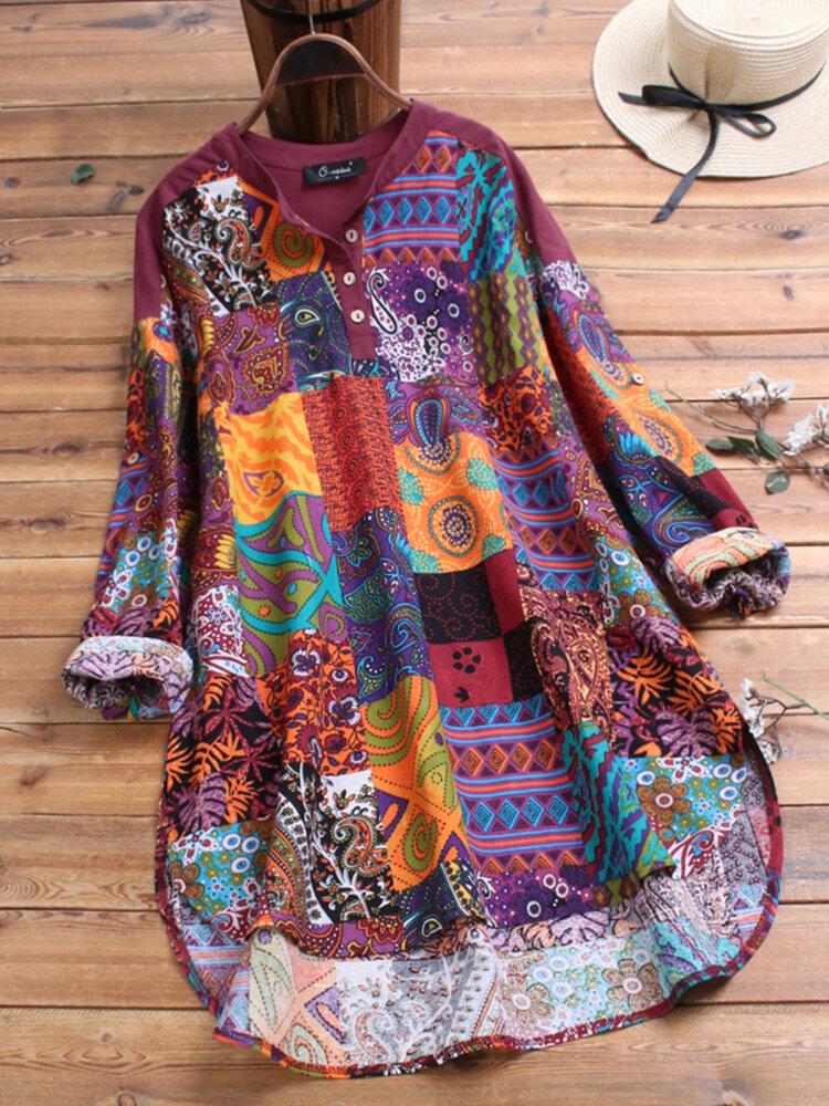 Ethnischer Stil Blumendruck Patchwork Baumwolle Plus Größe Shirt