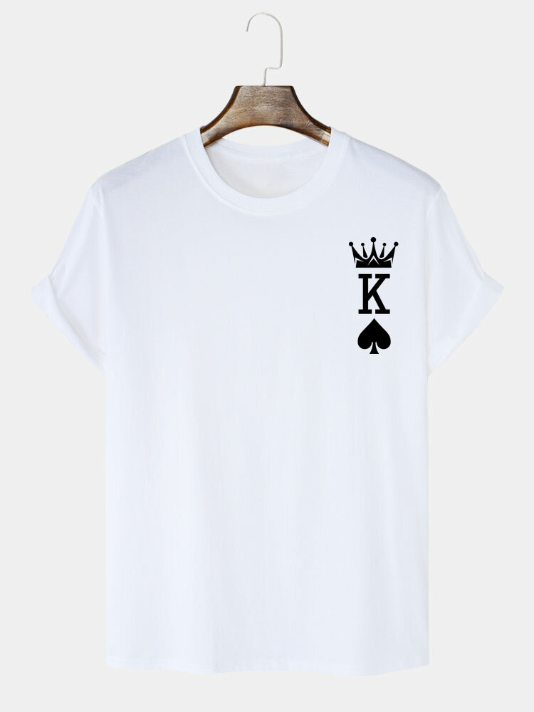 Mens Crown King Of Spades Poker Print 100% Cotton Short Sleeve T-Shirts
