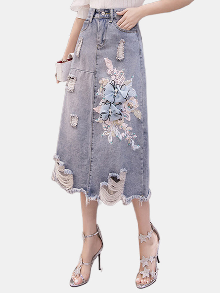 Denim Skirt Women's New High Waist Embroidered Skirt Female Was Thin A Word Bag Hip Skirt Long Section