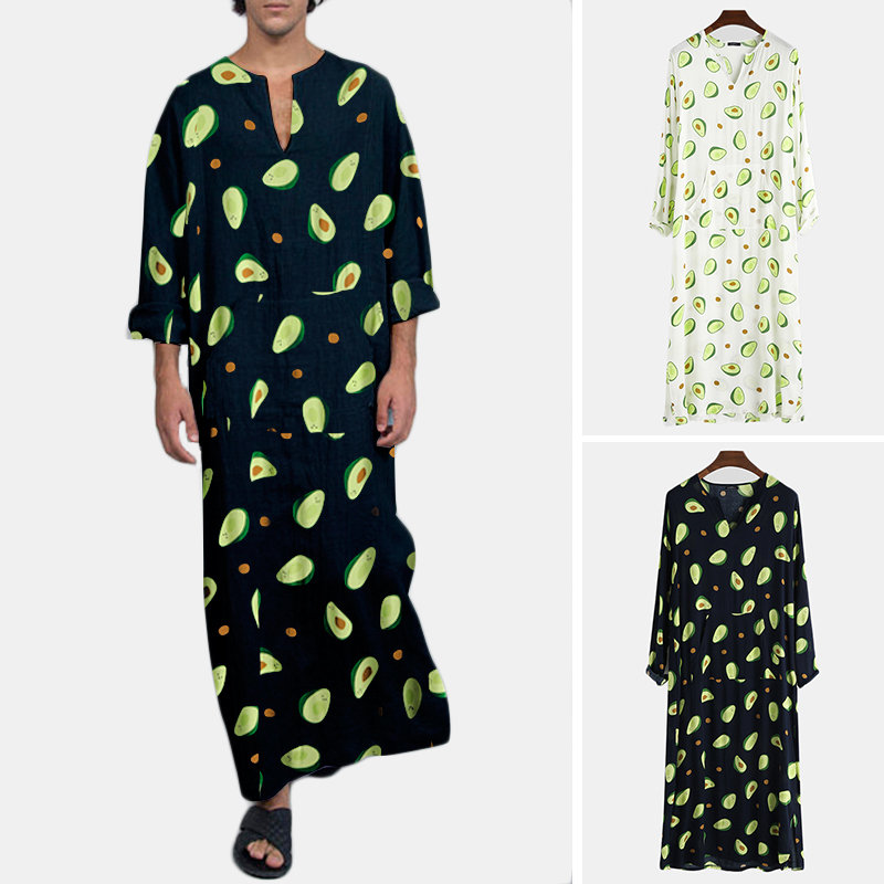 Mens Funny Avocado Print Beach Jumpsuit National Style Plus Size Thin  Lounge Wear With Belly Pocket