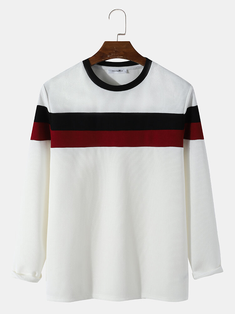 Mens Colorblock Stitching Knitted Texture Long Sleeve Overhead T-Shirt