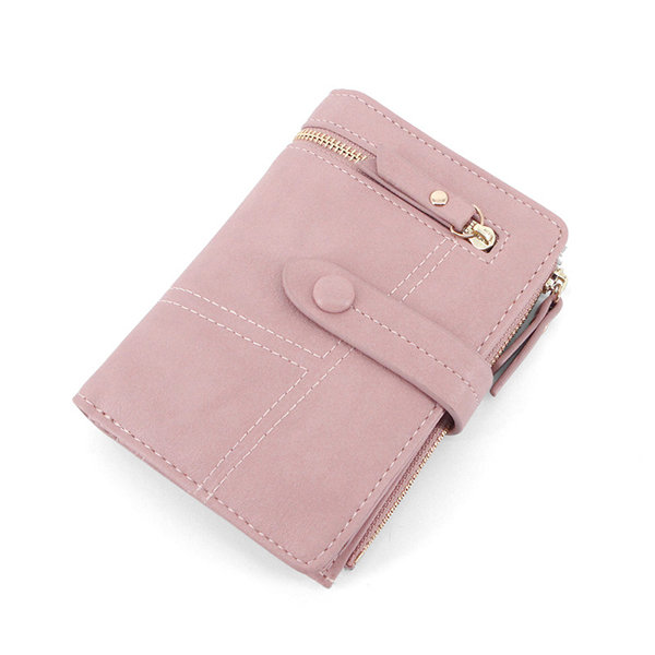 Women Bifold PU Stitching Short Wallet Multifunction 8 Card Slot Purse