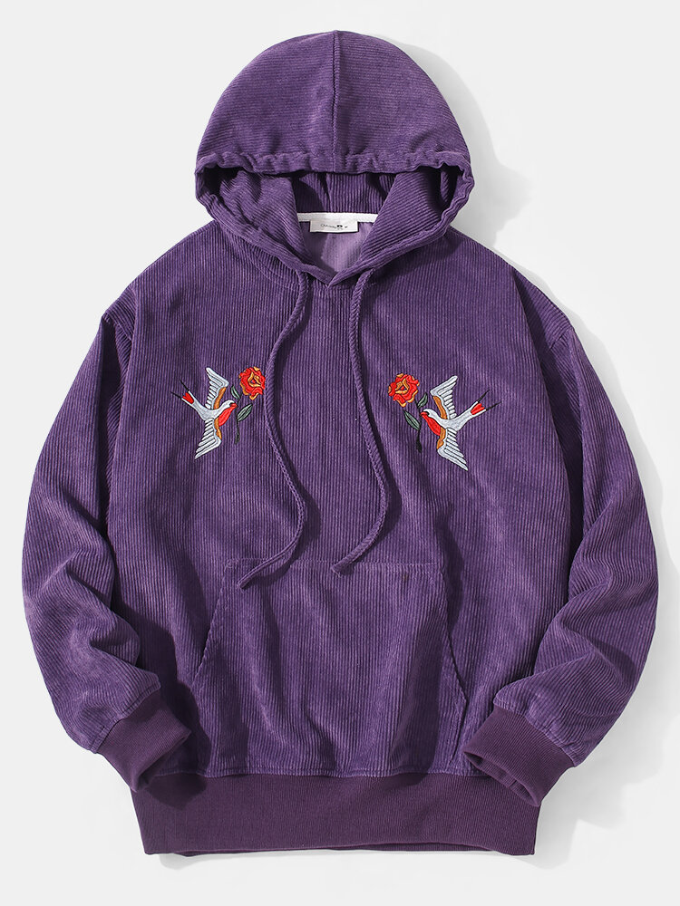 Mens Fleece Bird Embroidered Casual Drawstring Pullover Hoodie