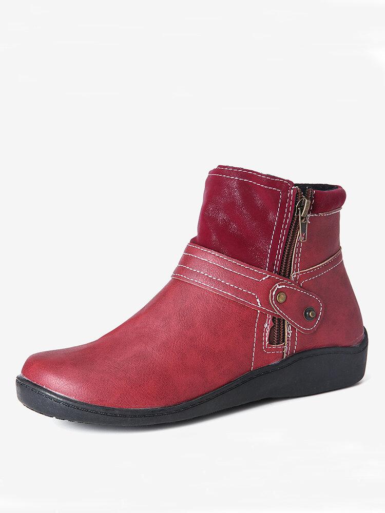 Large Size Women Retro Comfy PU Leather Zipper Flat Short Boots