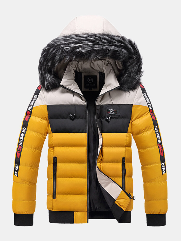 Mens Winter Thicken Tape Padded Fur Hooded Puffer Jacket Warm Down Coat