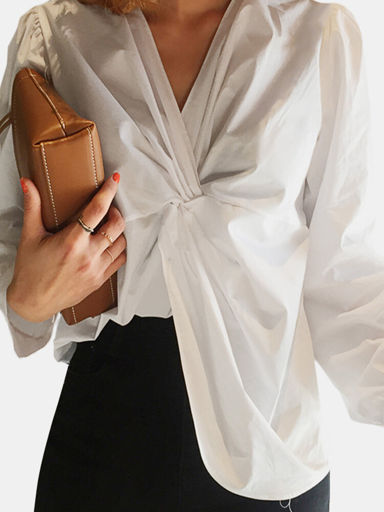 Solid Color V-neck Twisted Long Sleeve Blouse
