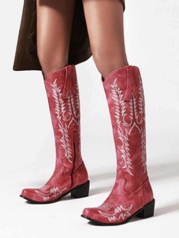 Women Solid Color Casual Retro Embroidered Pattern Mid-Calf Cowboy Boots