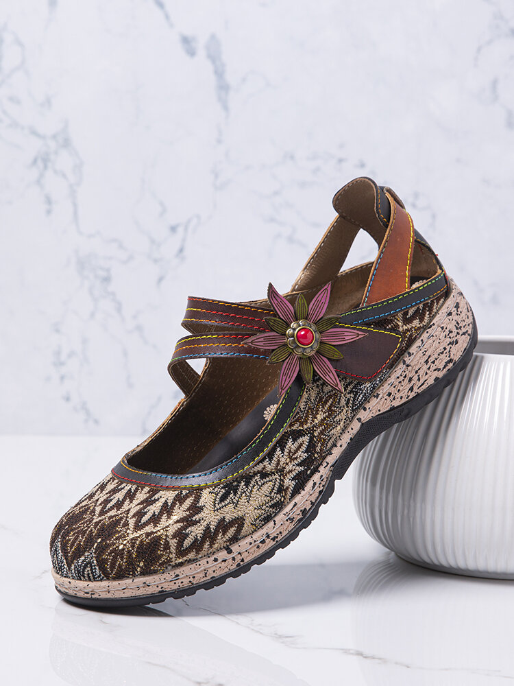 SOCOFY Comfy Round Toe Cloth Splicing Leather Flower Decor Hook Loop Casual Flats Loafers Mary Jane Shoes