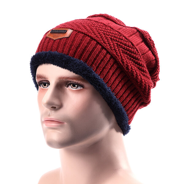 Male Knitted Slouch Beanie Hat Lining Plush Double Layers Winter Warm Ski Outdoor Cap