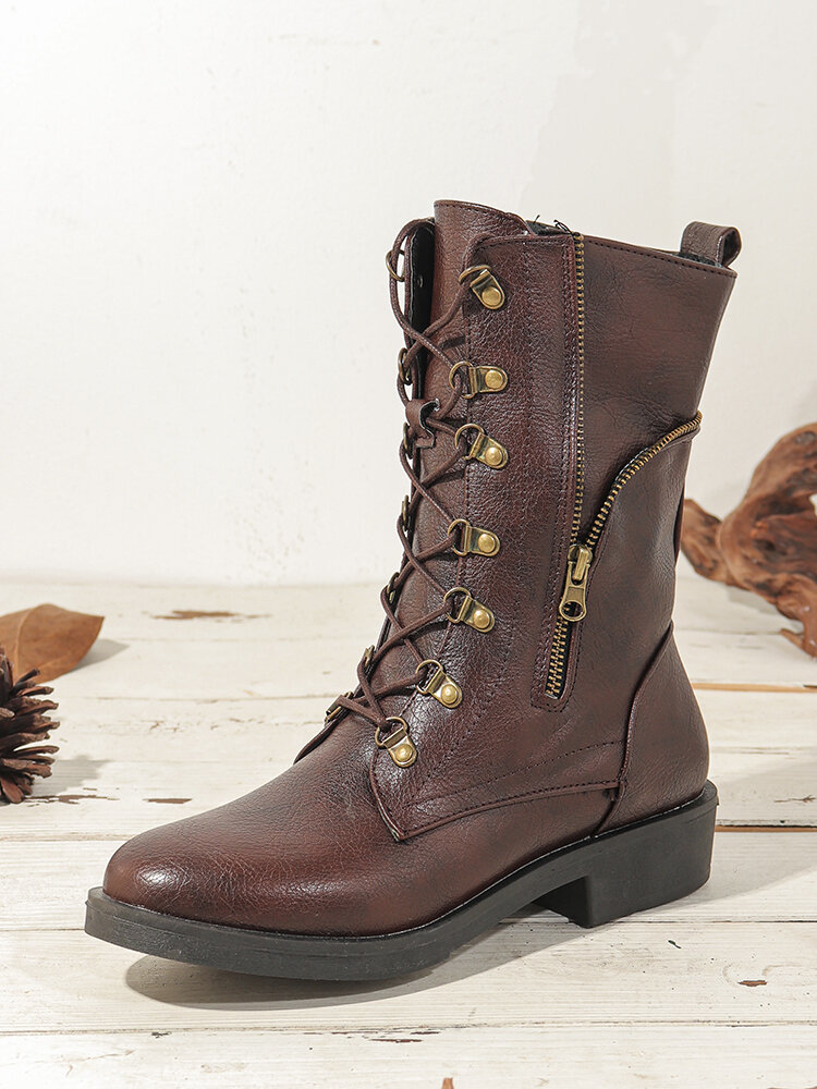 Women Large Size Solid Color Side Zipper Lace Up Mid-Calf Boots