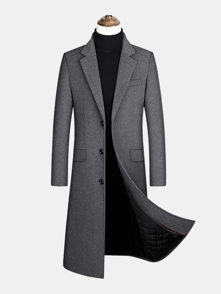 Mens Woolen Single-Breasted Flat Collar Casual Long Overcoats With Flap Pocket