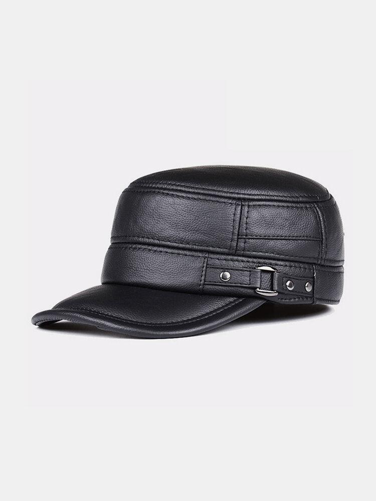 Men Cowhide Genuine Leather Military Cap Earflap Flat Cap