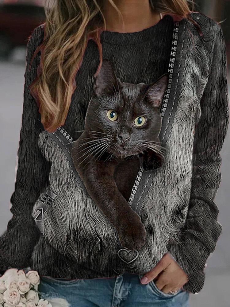 Schwarz Katze Print Langarm O-Ausschnitt Casual Sweatshirt Für Damen