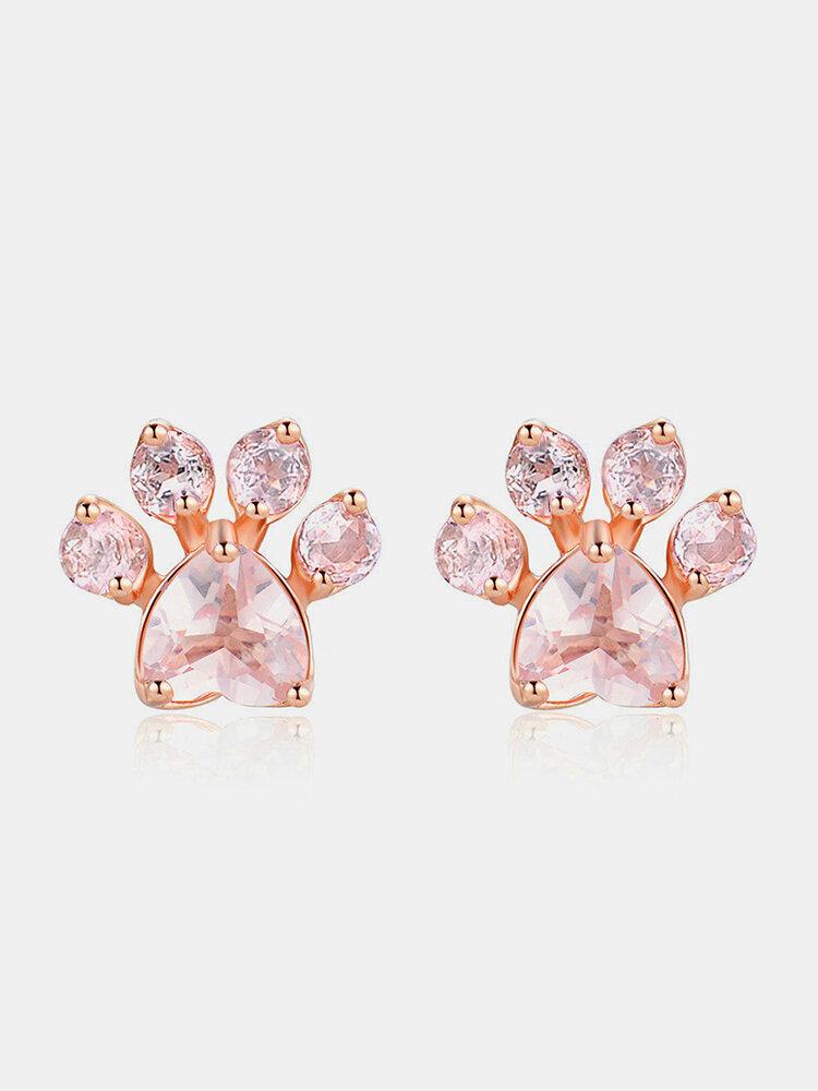 Sweet Cute Cat Paw Earrings Fashion Rose Gold Earrings Pink Claw Dog Paw Stud Earrings for Women