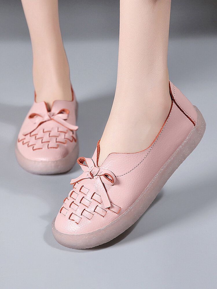 Women Solid Color Woven Design Bow Decor Comfy Soft Loafers Casual Slip On Flat Shoes
