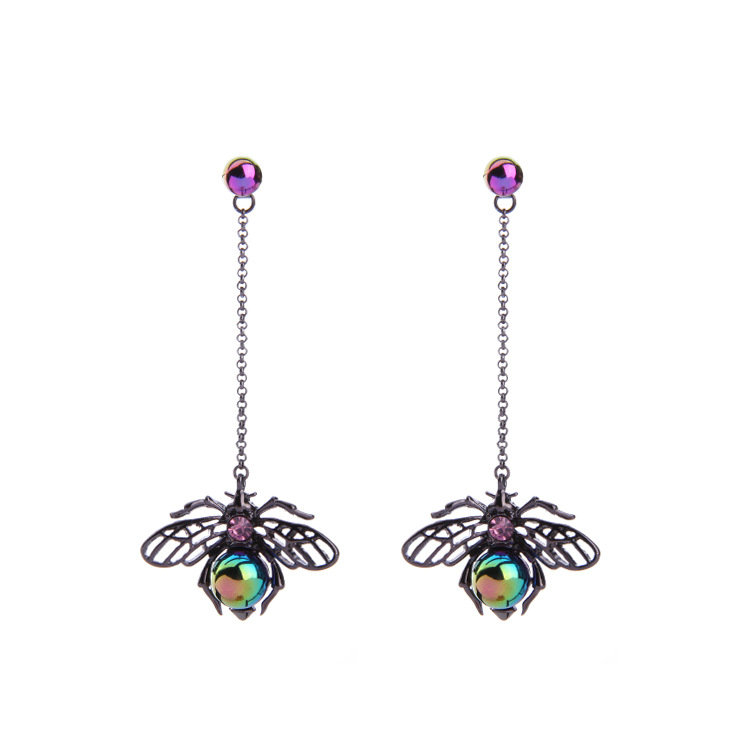 Vintage Colorful Pearl Hollow Wings Insect Drop Earrings Punk Black Earrings Jewelry for Women